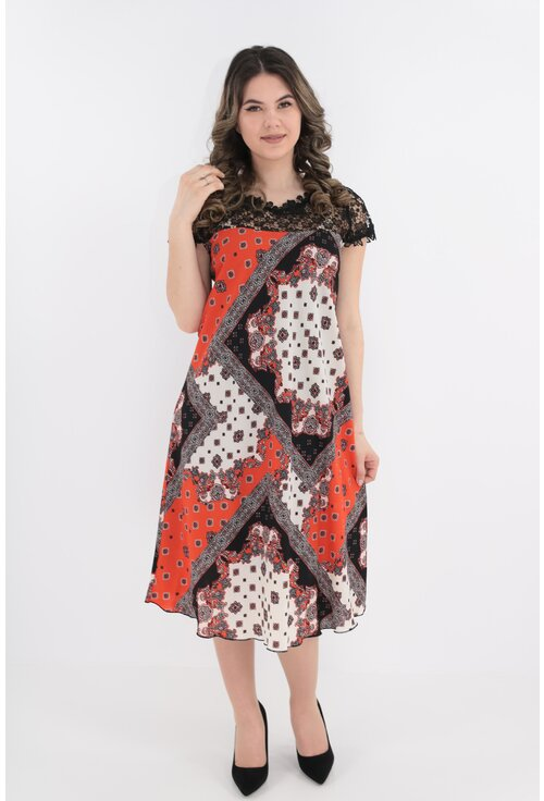 Rochie cu imprimeu orange si dantela neagra