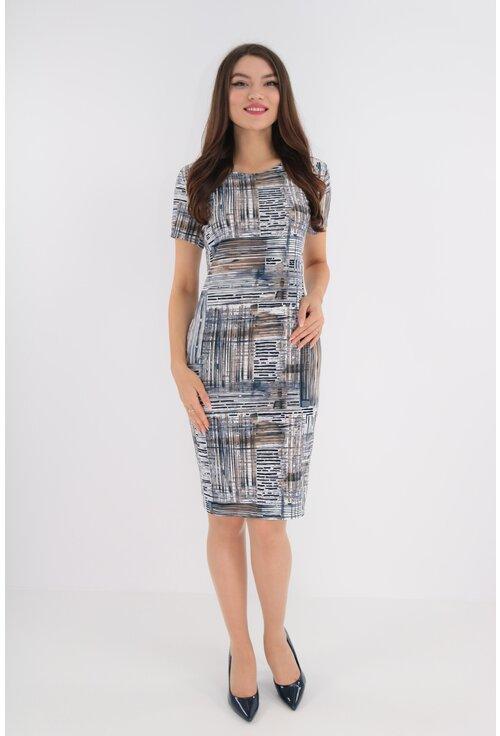 Rochie cu print abstract bleumarin-bej