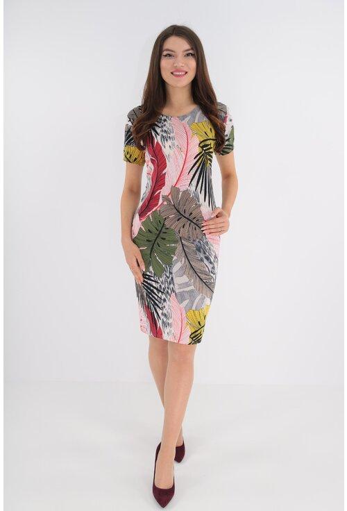 Rochie cu print tropical multicolor