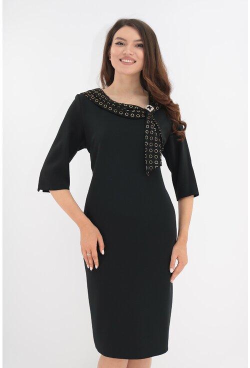 Rochie de ocazie neagra cu esarfa din voal