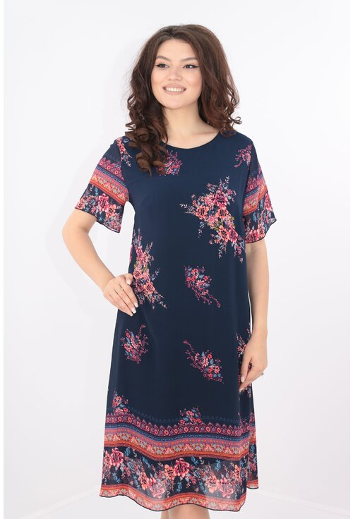 Rochie diafana din voal bleumarin cu print floral bordurat