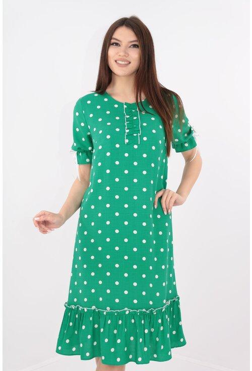 Rochie din bumbac verde cu buline albe