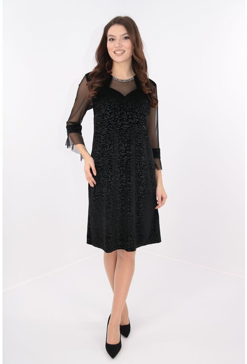 Rochie din catifea neagra cu strasuri multicolore