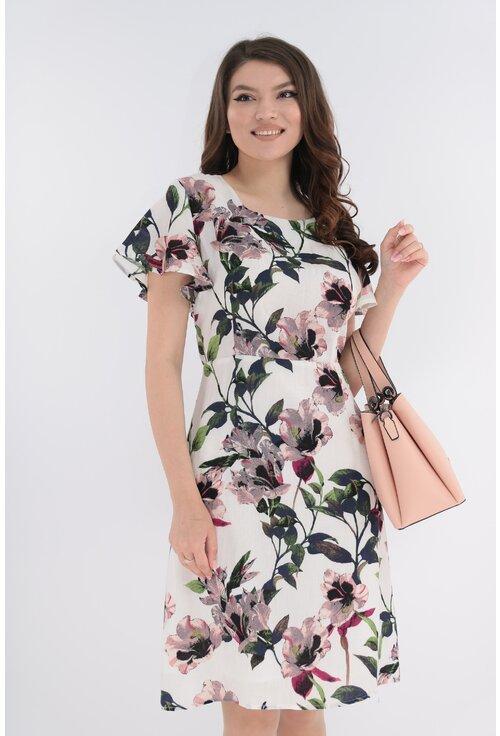 Rochie din in cu imprimeu floral roz-verde