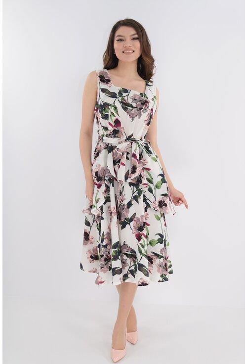 Rochie din in cu print floral roz-verde si volane suprapuse
