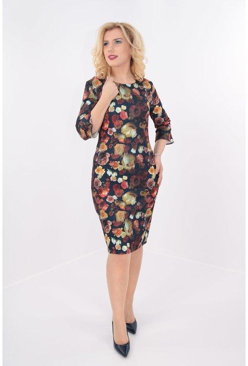 Rochie din jerse bleumarin cu print floral