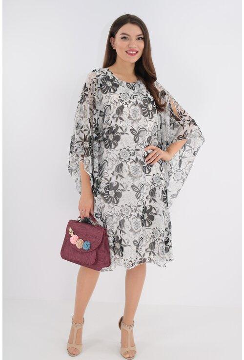 Rochie din voal alb cu print floral negru si sclipici