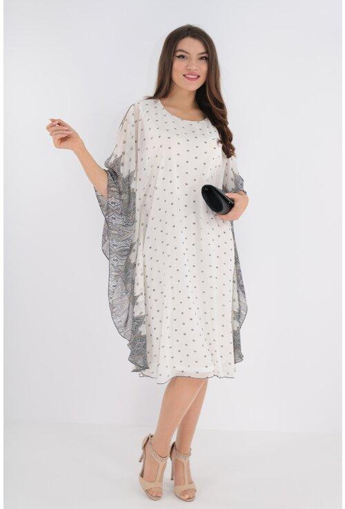 Rochie din voal alb imprimat cu bordura verticala