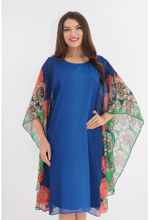 Rochie din voal albastru cu bordura verticala multicolora