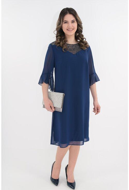 Rochie din voal albastru cu platca din dantela