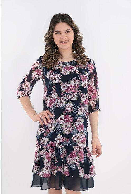 Rochie din voal bleumarin cu flori roz