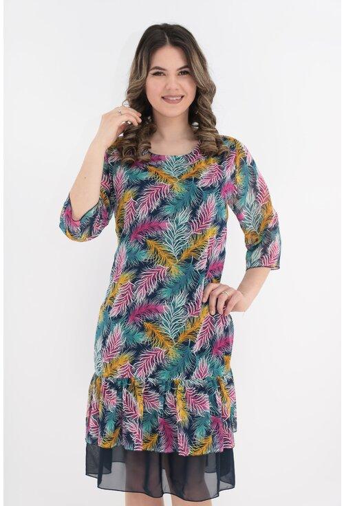 Rochie din voal bleumarin cu pene multicolore