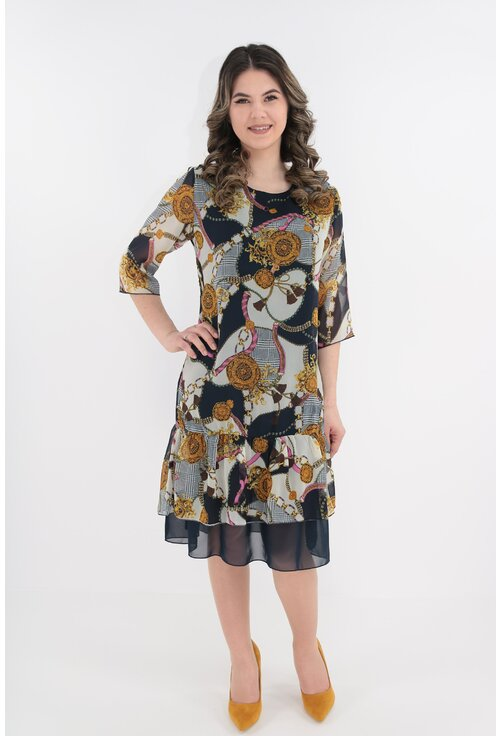 Rochie din voal bleumarin cu print abstract crem-roz