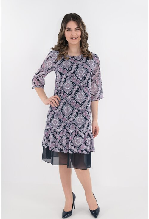 Rochie din voal bleumarin cu print abstract gri-roz