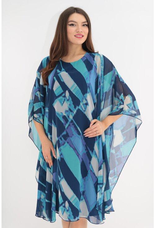 Rochie din voal cu print geometric albastru-alb