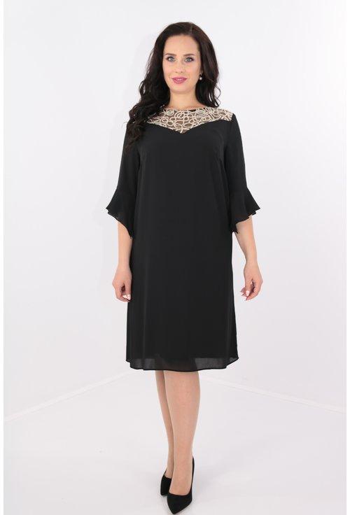 Rochie din voal negru cu platca din dantela