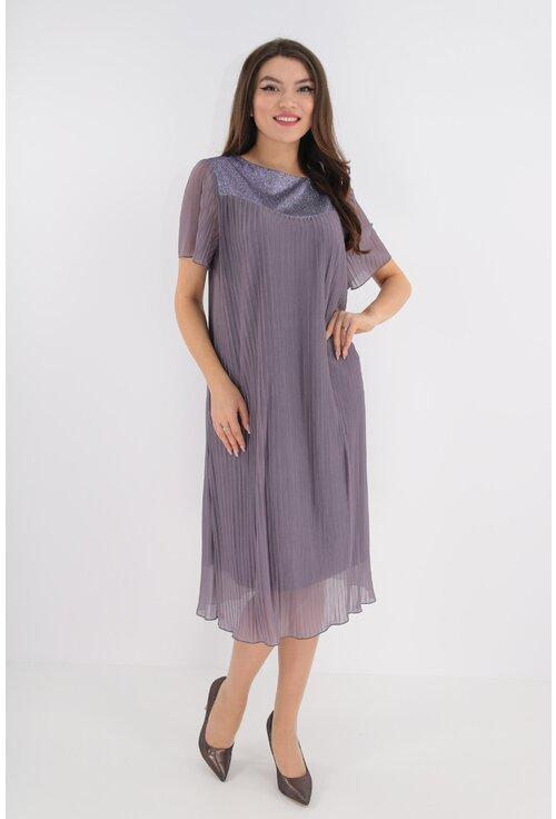 Rochie din voal plisat lila cu platca cu sclipici