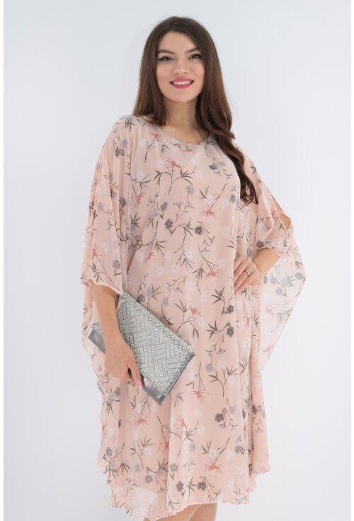 Rochie din voal roz pudra cu print floral delicat
