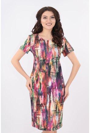 Rochie dreapta cu print abstract multicolor