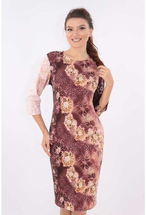 Rochie dreapta maro cu print floral bej
