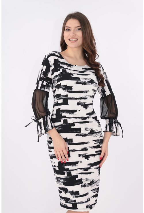 Rochie eleganta alba cu print negru