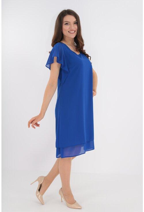 Rochie eleganta albastra din voaluri suprapuse
