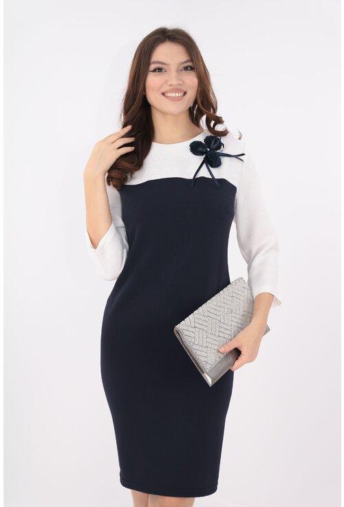 Rochie eleganta bleumarin cu alb