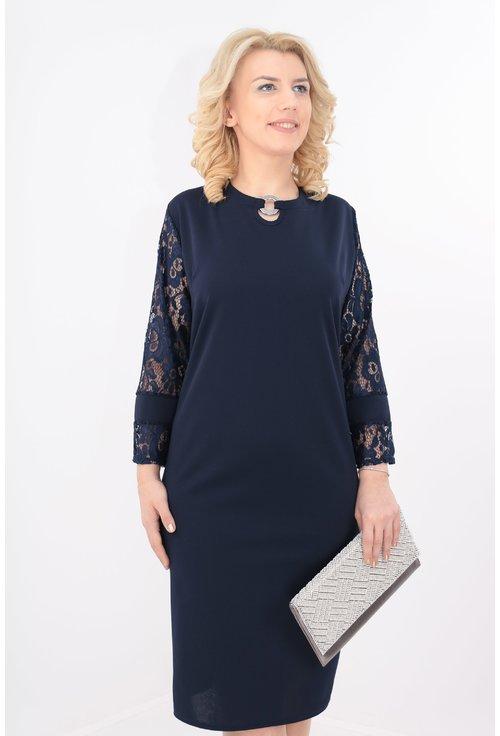 Rochie eleganta bleumarin cu maneci din dantela
