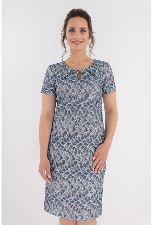 Rochie eleganta din brocard argintiu cu insertii albastre
