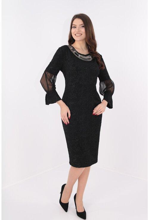 Rochie eleganta din brocard negru