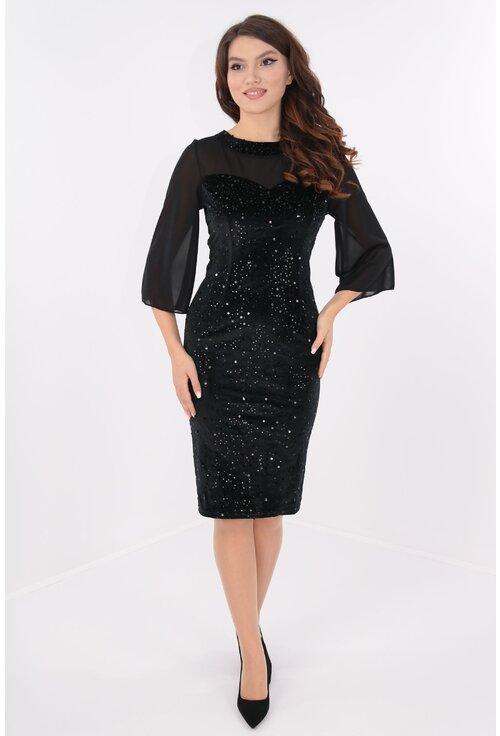 Rochie eleganta din catifea cu paiete si voal negru