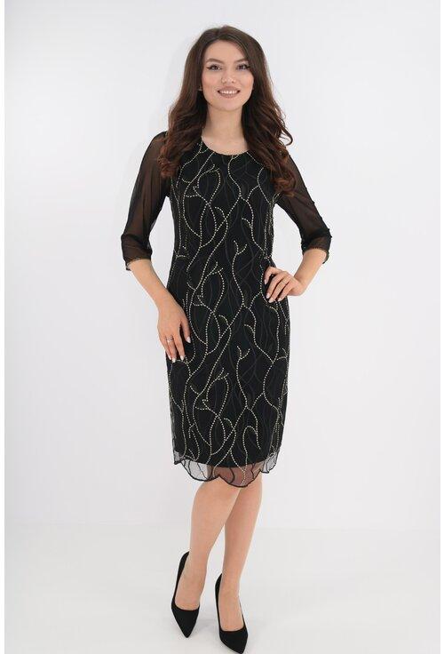 Rochie eleganta din tull negru cu broderie aurie
