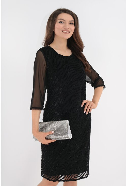 Rochie eleganta neagra cu model 3D din catifea