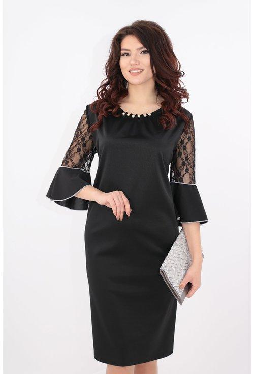 Rochie eleganta neagra cu perle
