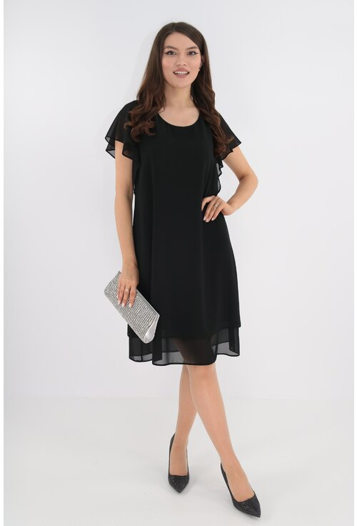 Rochie eleganta neagra din voaluri suprapuse