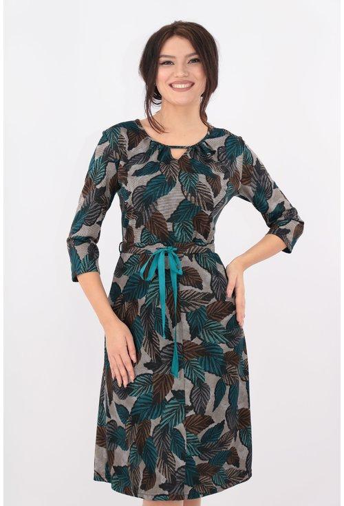 Rochie in clini cu imprimeu verde