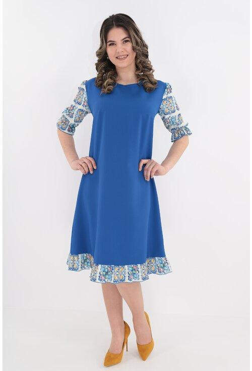 Rochie lejera albastra cu maneci si volane colorate