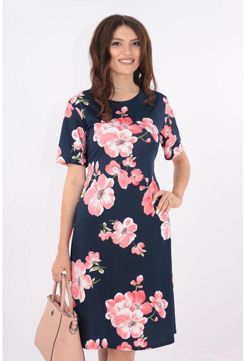 Rochie lejera bleumarin cu print floral maxi