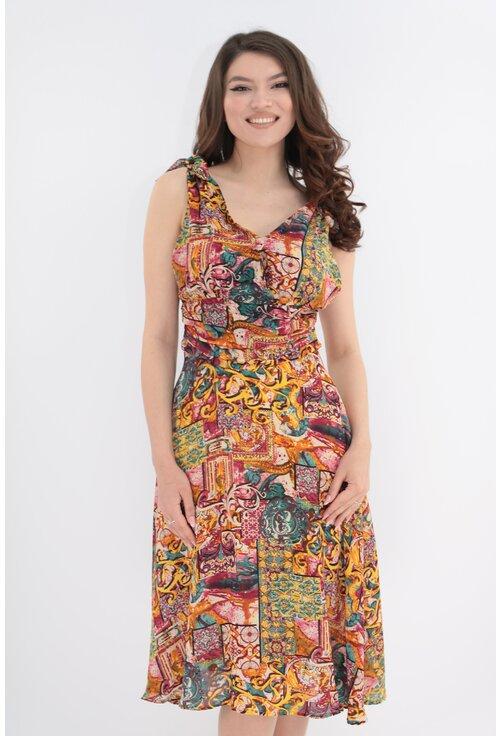 Rochie lejera cu print abstract multicolor