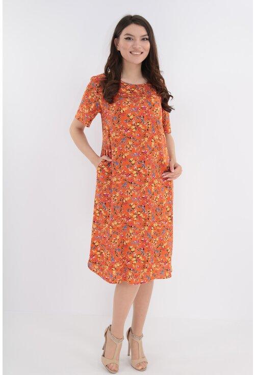 Rochie lejera din vascoza orange cu print floral