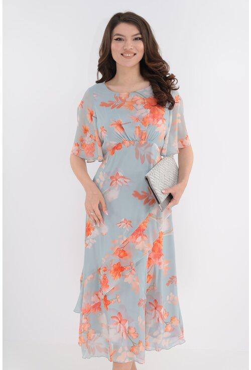 Rochie lejera din voal gri cu print floral caramiziu