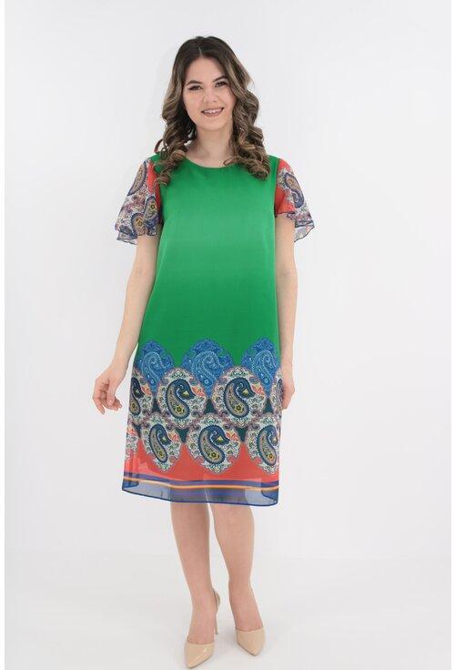 Rochie lejera din voal verde cu bordura multicolor