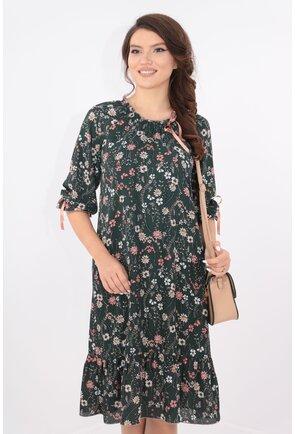 Rochie lejera verde cu imprimeu floral