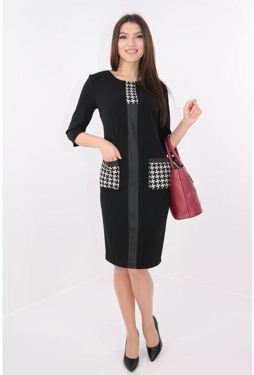 Rochie neagra cu banda decorativa si model geometric