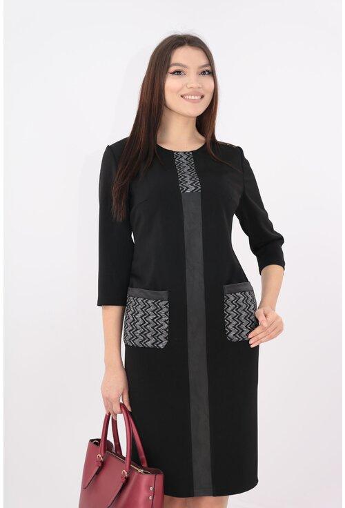 Rochie neagra cu banda decorativa si model zig-zag