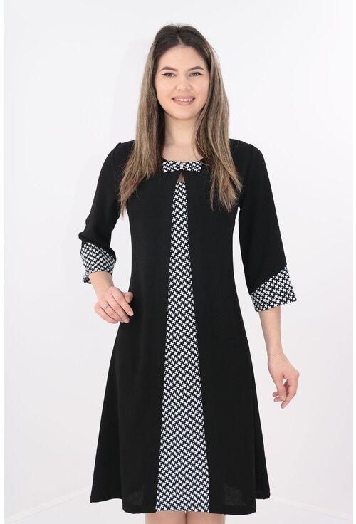 Rochie neagra cu insertii alb-negru si aspect suprapus