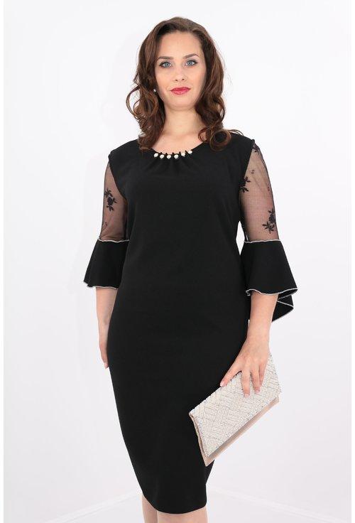 Rochie neagra cu perle