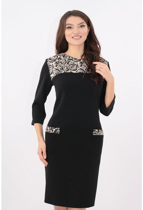 Rochie neagra cu platca din brocard
