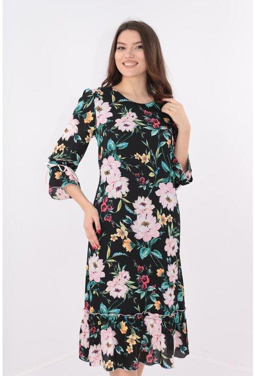 Rochie neagra cu print floral maxi multicolor