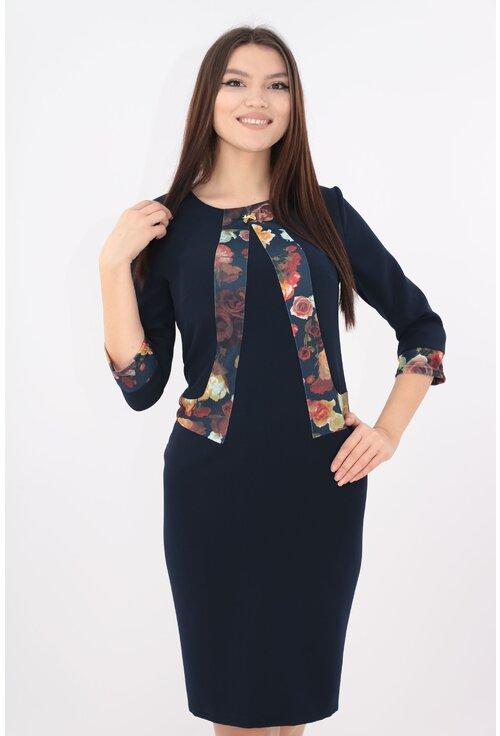Rochie office bleumarin cu garnitura print floral